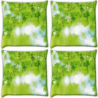 Snoogg Pack Of 4 Green Leaves Tree Digitally Printed Cushion Cover Pillow 10 x 10 Inch