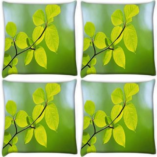 Snoogg Pack Of 4 Green Leaves Plants Digitally Printed Cushion Cover Pillow 10 x 10 Inch