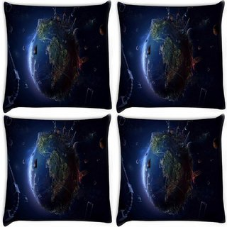 Snoogg Pack Of 4 Animated Earth Digitally Printed Cushion Cover Pillow 10 x 10 Inch