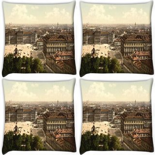 Snoogg Pack Of 4 Abstract Rome City Digitally Printed Cushion Cover Pillow 10 x 10 Inch