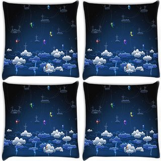 Snoogg Pack Of 4 Clouds And Towers Digitally Printed Cushion Cover Pillow 10 x 10 Inch