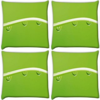 Snoogg Pack Of 4 Dew Drops Digitally Printed Cushion Cover Pillow 10 x 10 Inch