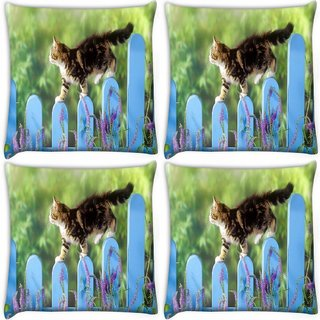 Snoogg Pack Of 4 Cat Walking Digitally Printed Cushion Cover Pillow 10 x 10 Inch