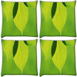 Snoogg Pack Of 4 Leave Dew Drop Digitally Printed Cushion Cover Pillow 10 x 10 Inch