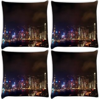Snoogg Pack Of 4 Colorful City At Night Digitally Printed Cushion Cover Pillow 10 x 10 Inch