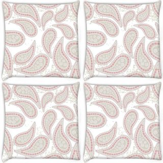 Snoogg Pack Of 4 Abstract Light Green Pattern Digitally Printed Cushion Cover Pillow 10 x 10 Inch