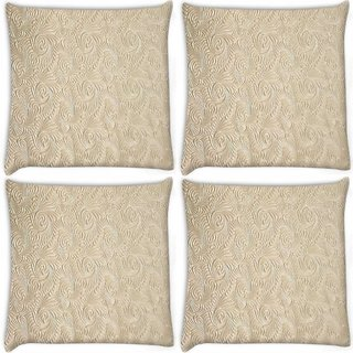Snoogg Pack Of 4 Abstract Golden Feathers Digitally Printed Cushion Cover Pillow 10 x 10 Inch