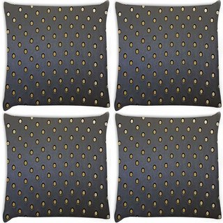 Snoogg Pack Of 4 Yellow Spots Grey Pattern Digitally Printed Cushion Cover Pillow 10 x 10 Inch