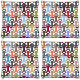 Snoogg Pack Of 4 Colorful Anchors Digitally Printed Cushion Cover Pillow 10 x 10 Inch