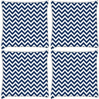 Snoogg Pack Of 4 White And Blue Strips Digitally Printed Cushion Cover Pillow 10 x 10 Inch