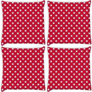 Snoogg Pack Of 4 White Stars Red Pattern Digitally Printed Cushion Cover Pillow 10 x 10 Inch