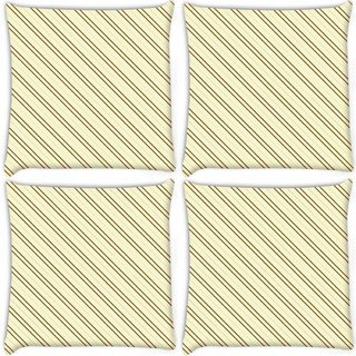 Snoogg Pack Of 4 Brown Strip Cream Pattern Digitally Printed Cushion Cover Pillow 10 x 10 Inch