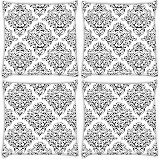Snoogg Pack Of 4 Grey Leafy Pattern Digitally Printed Cushion Cover Pillow 10 x 10 Inch
