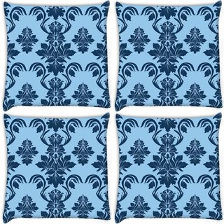 Snoogg Pack Of 4 Blue Leafy Pattern Digitally Printed Cushion Cover Pillow 10 x 10 Inch