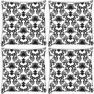 Snoogg Pack Of 4 Mixed Pattern Design Digitally Printed Cushion Cover Pillow 10 x 10 Inch