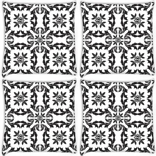 Snoogg Pack Of 4 Black Pattern Leaves Digitally Printed Cushion Cover Pillow 10 x 10 Inch