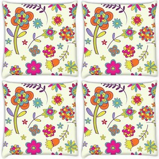 Snoogg Pack Of 4 Abstract Designs Digitally Printed Cushion Cover Pillow 10 x 10 Inch