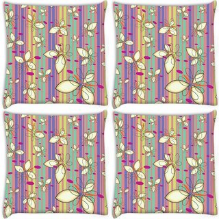 Snoogg Pack Of 4 Cream Floral Pattern Digitally Printed Cushion Cover Pillow 10 x 10 Inch