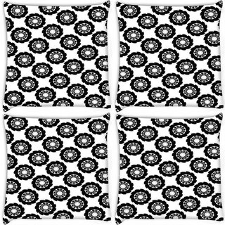 Snoogg Pack Of 4 Dark Black Pattern Digitally Printed Cushion Cover Pillow 10 x 10 Inch