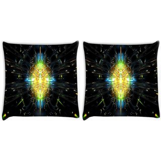 Snoogg Pack Of 2 Abstract Design Digitally Printed Cushion Cover Pillow 10 x 10 Inch