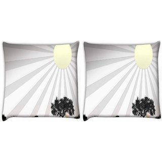 Snoogg Pack Of 2 Sun Rays Digitally Printed Cushion Cover Pillow 10 x 10 Inch