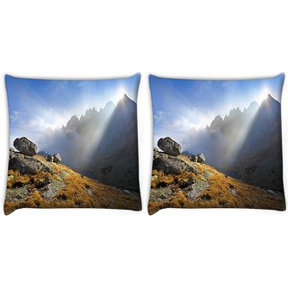 Snoogg Pack Of 2 Mountain View Digitally Printed Cushion Cover Pillow 10 x 10 Inch