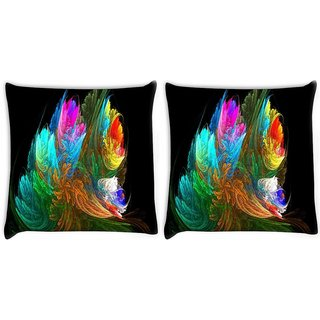 Snoogg Pack Of 2 Multicolor Pattern Digitally Printed Cushion Cover Pillow 10 x 10 Inch