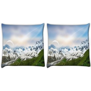 Snoogg Pack Of 2 Snow Mountain Digitally Printed Cushion Cover Pillow 10 x 10 Inch