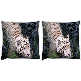 Snoogg Pack Of 2 White Tiger Digitally Printed Cushion Cover Pillow 10 x 10 Inch