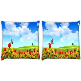 Snoogg Pack Of 2 Butterfly In Flower Digitally Printed Cushion Cover Pillow 10 x 10 Inch
