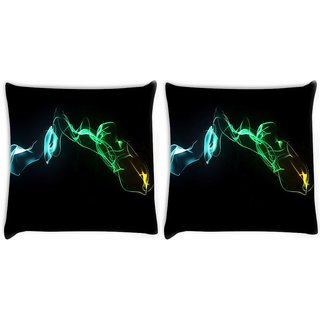 Snoogg Pack Of 2 Abstract Smoke Digitally Printed Cushion Cover Pillow 10 x 10 Inch