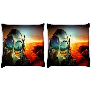 Snoogg Pack Of 2 Astronauts Mask Digitally Printed Cushion Cover Pillow 10 x 10 Inch