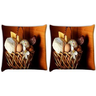 Snoogg Pack Of 2 Basket Of Gift Digitally Printed Cushion Cover Pillow 10 x 10 Inch