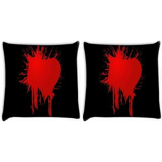 Snoogg Pack Of 2 Bloody Heart Digitally Printed Cushion Cover Pillow 10 x 10 Inch