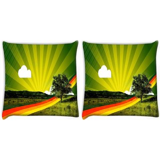 Snoogg Pack Of 2 Rainbow Path Digitally Printed Cushion Cover Pillow 10 x 10 Inch