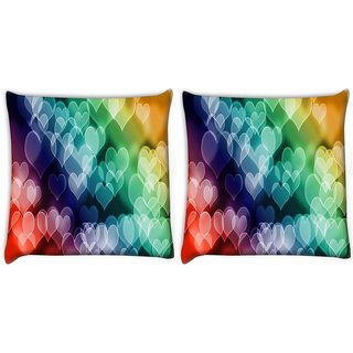 Snoogg Pack Of 2 Colored Hearts Digitally Printed Cushion Cover Pillow 10 x 10 Inch