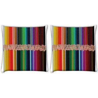 Snoogg Pack Of 2 Colored Pencils Digitally Printed Cushion Cover Pillow 10 x 10 Inch