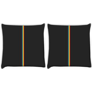 Snoogg Pack Of 2 Colored Stripes Abstract Digitally Printed Cushion Cover Pillow 10 x 10 Inch