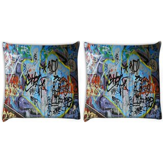Snoogg Pack Of 2 Colorful Graffiti Street Paint Digitally Printed Cushion Cover Pillow 10 x 10 Inch