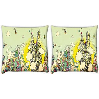 Snoogg Pack Of 2 Colorful City Drawing Digitally Printed Cushion Cover Pillow 10 x 10 Inch