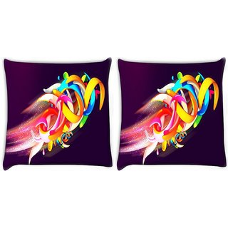 Snoogg Pack Of 2 Colorful Shapes Abstract Digitally Printed Cushion Cover Pillow 10 x 10 Inch