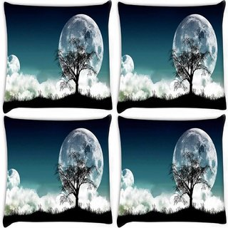 Snoogg Pack Of 4 Tree At Night Digitally Printed Cushion Cover Pillow 10 x 10 Inch