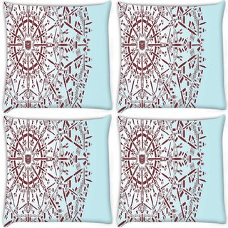 Snoogg Pack Of 4 Abstract Snowflake Digitally Printed Cushion Cover Pillow 10 x 10 Inch