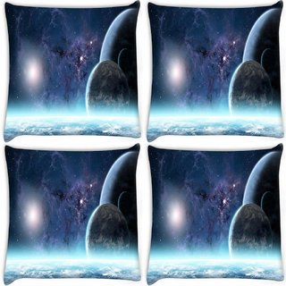 Snoogg Pack Of 4 Stars In Galaxy Digitally Printed Cushion Cover Pillow 10 x 10 Inch