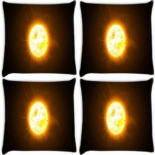 Snoogg Pack Of 4 Moon In Space Digitally Printed Cushion Cover Pillow 10 x 10 Inch