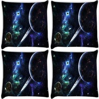 Snoogg Pack Of 4 Solar Rays Digitally Printed Cushion Cover Pillow 10 x 10 Inch