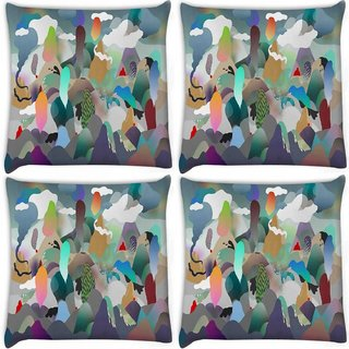 Snoogg Pack Of 4 Paper Ring Of Fire Digitally Printed Cushion Cover Pillow 10 x 10 Inch
