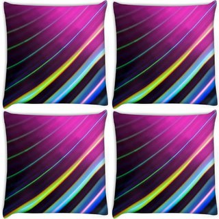 Snoogg Pack Of 4 Colour Lines Digitally Printed Cushion Cover Pillow 10 x 10 Inch