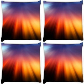 Snoogg Pack Of 4 Pattern Rays Digitally Printed Cushion Cover Pillow 10 x 10 Inch