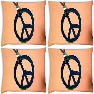 Snoogg Pack Of 4 Peace And Love Digitally Printed Cushion Cover Pillow 10 x 10 Inch
